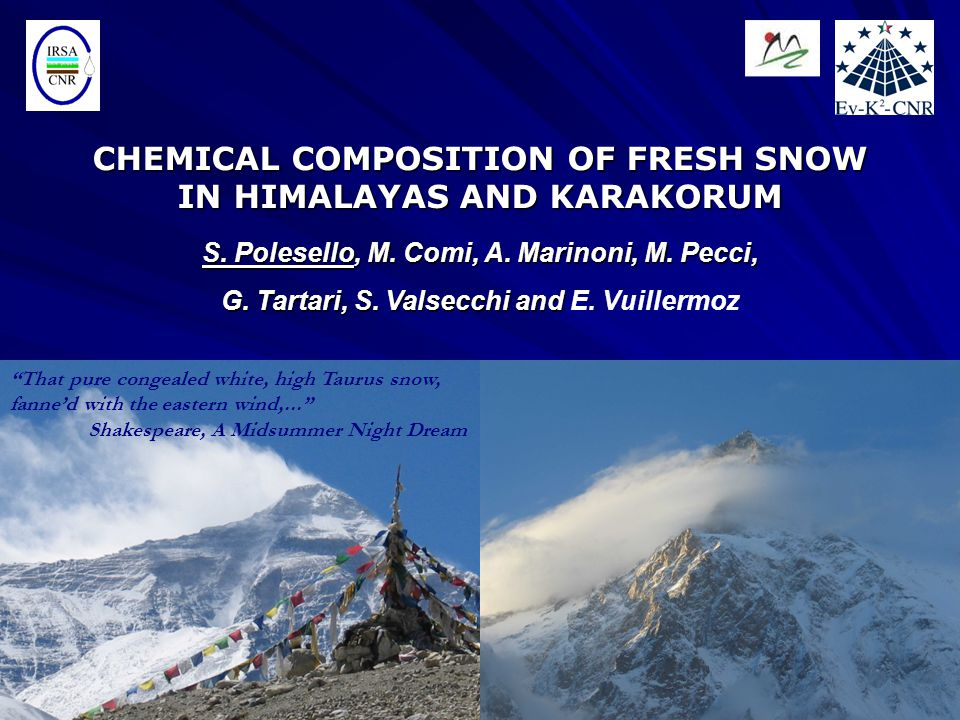 FUTURE AIMS Integration of deposition chemistry with aerosol chemistry in order to obtain complementary information on atmospheric processes involved in Atmospheric Brown Cloud Sulphate: 32% Organics: 26%
