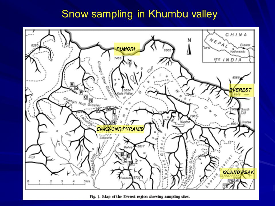 Ev-K2-CNR PYRAMID Snow sampling in Khumbu valley PUMORI EVEREST ISLAND PEAK