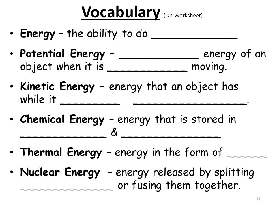 Worksheets Forms Of Energy Worksheet 1 student objective to identify the 2 different forms of energy vocabulary on worksheet ability do potential energy