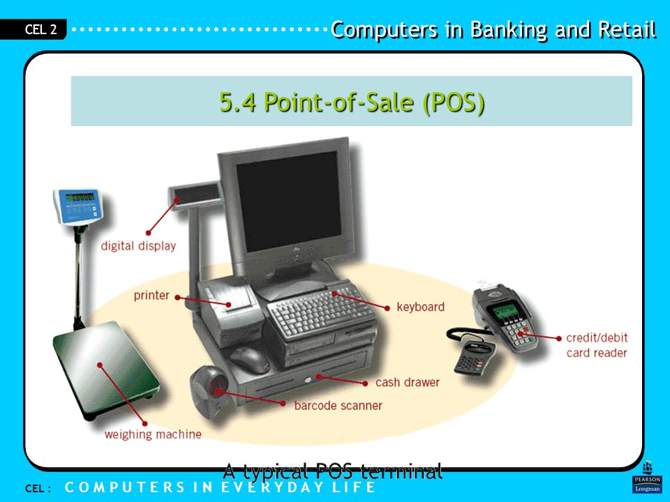 Computers in Banking and Retail CEL : C O M P U T E R S I N E V E R Y D A Y L I F E CEL 2 5.4 Point-of-Sale (POS)