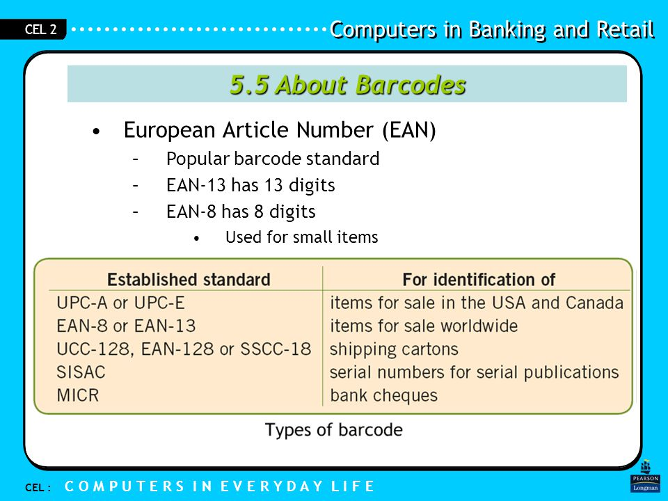 Computers in Banking and Retail CEL : C O M P U T E R S I N E V E R Y D A Y L I F E CEL 2 5.5 About Barcodes European Article Number (EAN) –Popular barcode standard –EAN-13 has 13 digits –EAN-8 has 8 digits Used for small items