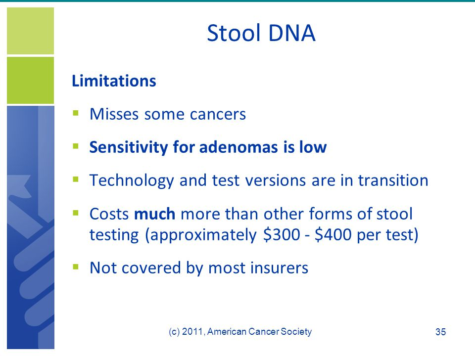 Stool DNA Limitations  Misses some cancers  Sensitivity for adenomas is low  Technology and test versions are in transition  Costs much more than other forms of stool testing (approximately $300 - $400 per test)  Not covered by most insurers 35 (c) 2011, American Cancer Society