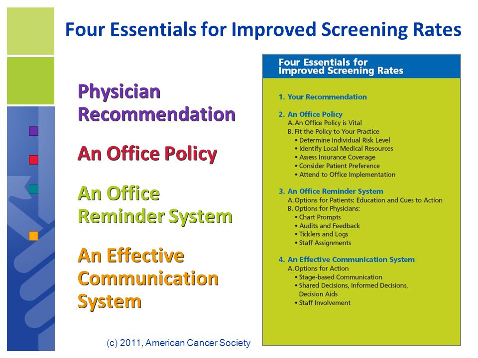 Four Essentials for Improved Screening Rates Physician Recommendation An Office Policy An Office Reminder System An Effective Communication System Physician Recommendation An Office Policy An Office Reminder System An Effective Communication System (c) 2011, American Cancer Society