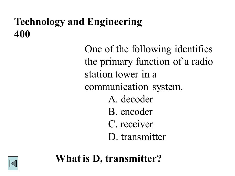 Technology and Engineering 300 What is C.