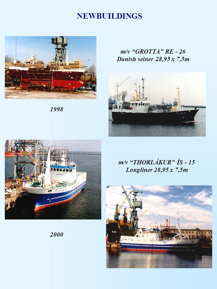 "NEWBUILDINGS m/v ""GROTTA"" RE - 26 Danish seiner 28,95 x 7,5m 1998 m/v ""THORLÁKUR"" ÍS - 15 Longliner 28,95 x 7,5m 2000"