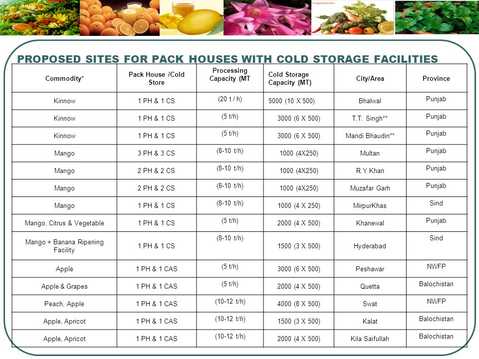 PROPOSED SITES FOR PACK HOUSES WITH COLD STORAGE FACILITIES Commodity* Pack House /Cold Store Processing Capacity (MT Cold Storage Capacity (MT) City/AreaProvince Kinnow1 PH & 1 CS (20 t / h) 5000 (10 X 500)Bhalwal Punjab Kinnow1 PH & 1 CS (5 t/h) 3000 (6 X 500)T.T.