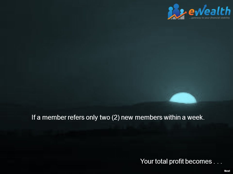 Your total profit becomes... If a member refers only two (2) new members within a week. Next