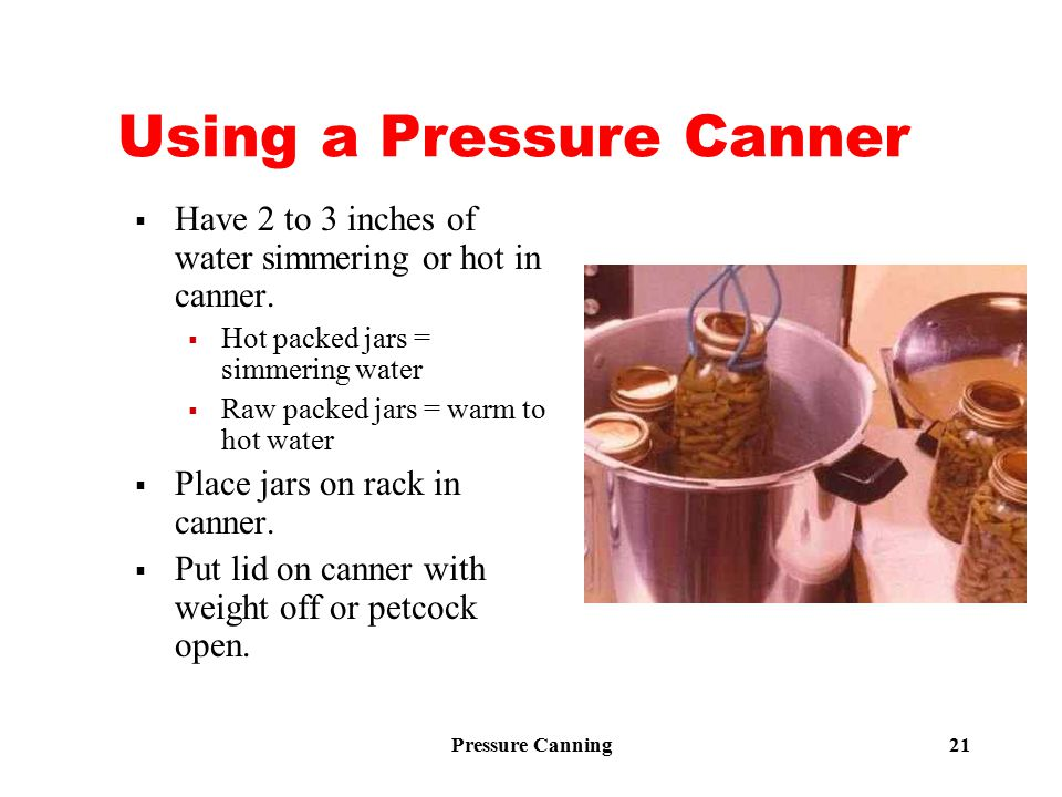 Pressure Canning 21 Using a Pressure Canner  Have 2 to 3 inches of water simmering or hot in canner.  Hot packed jars = simmering water  Raw packed