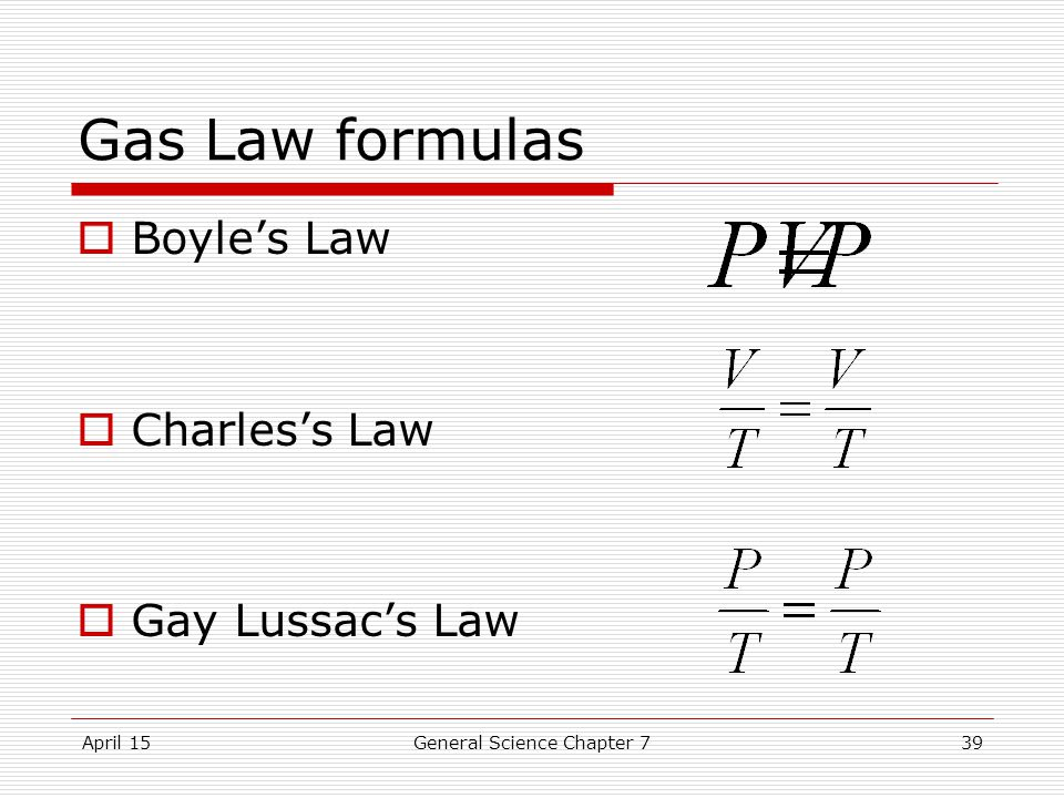 April 15General Science Chapter 739 Gas Law formulas  Boyle's Law  Charles's Law  Gay Lussac's Law