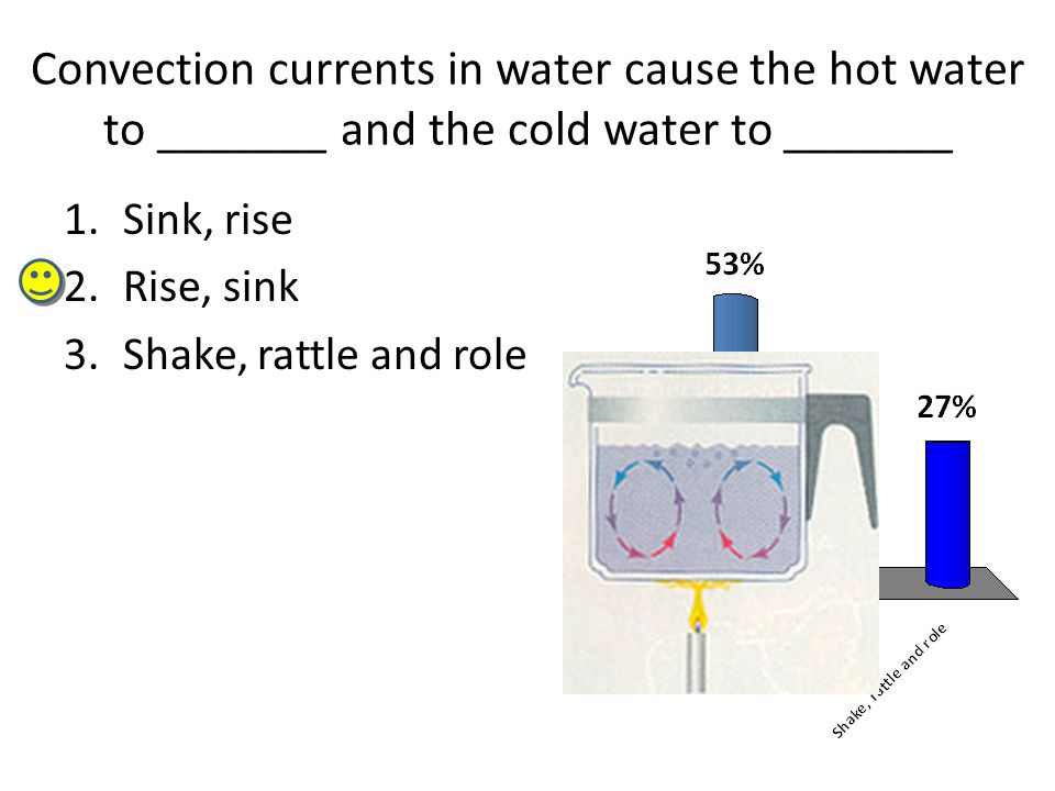 Convection currents in water cause the hot water to _______ and the cold water to _______ 1.Sink, rise 2.Rise, sink 3.Shake, rattle and role