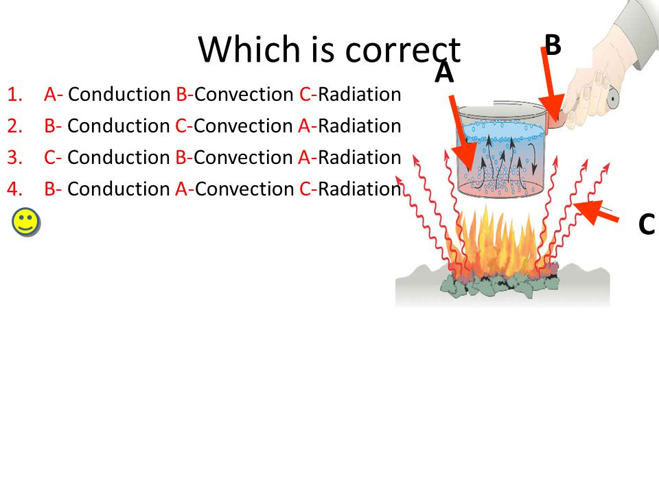 A B C Which is correct 1.A- Conduction B-Convection C-Radiation 2.B- Conduction C-Convection A-Radiation 3.C- Conduction B-Convection A-Radiation 4.B- Conduction A-Convection C-Radiation