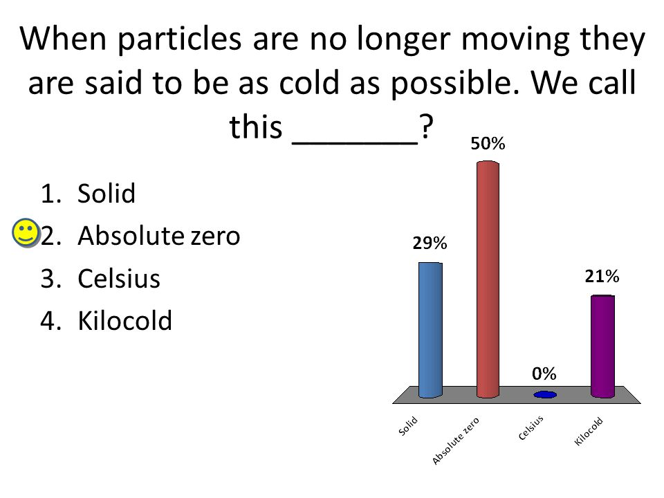 When particles are no longer moving they are said to be as cold as possible.