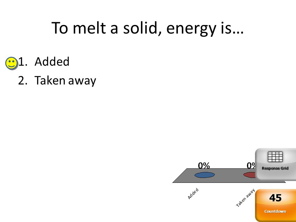 To melt a solid, energy is… 1.Added 2.Taken away Response Grid Countdown 45