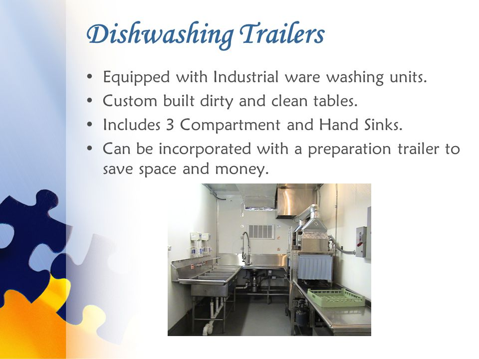 Dishwashing Trailers Equipped with Industrial ware washing units.