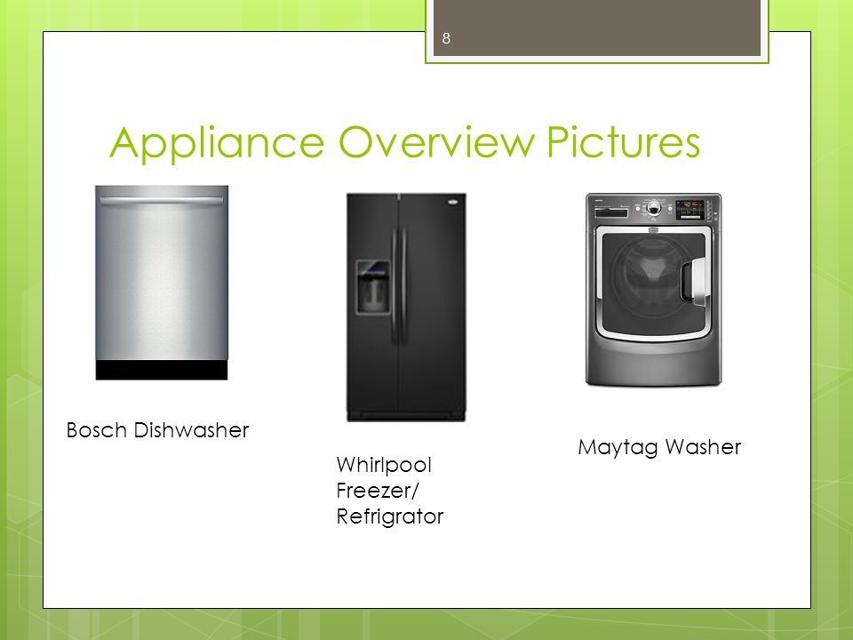 Appliance Overview Pictures Bosch Dishwasher Whirlpool Freezer/ Refrigrator Maytag Washer 8