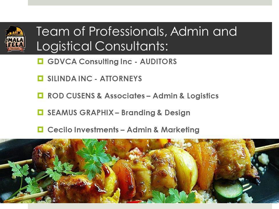 Team of Professionals, Admin and Logistical Consultants:  GDVCA Consulting Inc - AUDITORS  SILINDA INC - ATTORNEYS  ROD CUSENS & Associates – Admin & Logistics  SEAMUS GRAPHIX – Branding & Design  Cecilo Investments – Admin & Marketing
