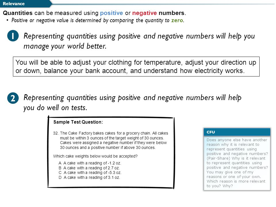 Representing quantities using positive and negative numbers will help you manage your world better.
