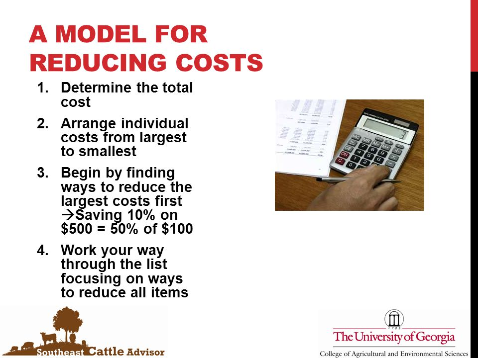 A MODEL FOR REDUCING COSTS 1.Determine the total cost 2.Arrange individual costs from largest to smallest 3.Begin by finding ways to reduce the largest costs first  Saving 10% on $500 = 50% of $100 4.Work your way through the list focusing on ways to reduce all items