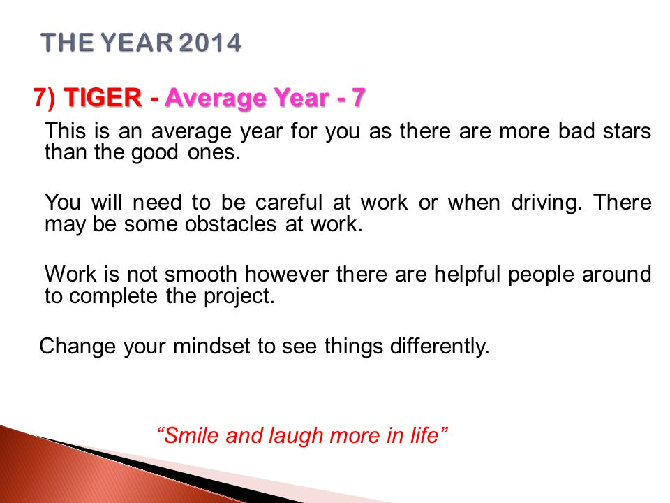 TIGERAverage Year - 7 7) TIGER - Average Year - 7 This is an average year for you as there are more bad stars than the good ones.
