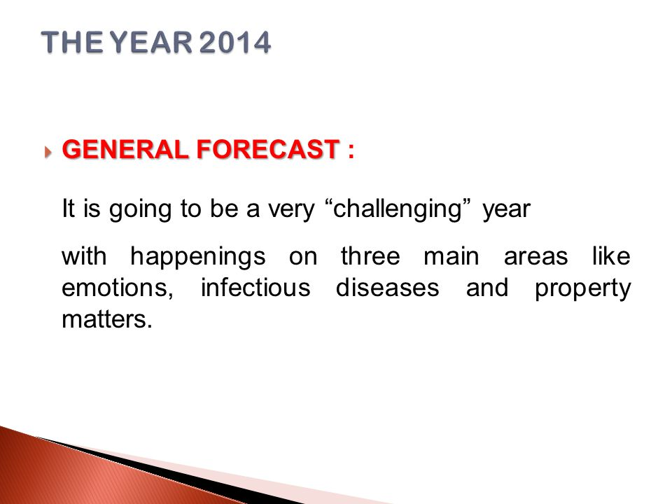  GENERAL FORECAST  GENERAL FORECAST : It is going to be a very challenging year with happenings on three main areas like emotions, infectious diseases and property matters.