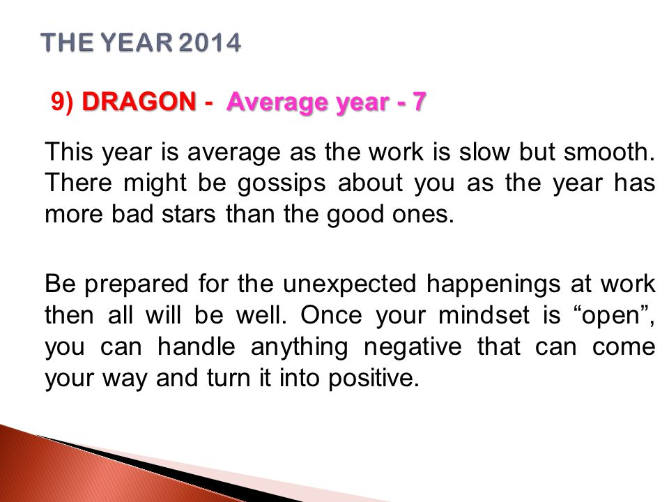 DRAGONAverage year - 7 9) DRAGON - Average year - 7 This year is average as the work is slow but smooth.