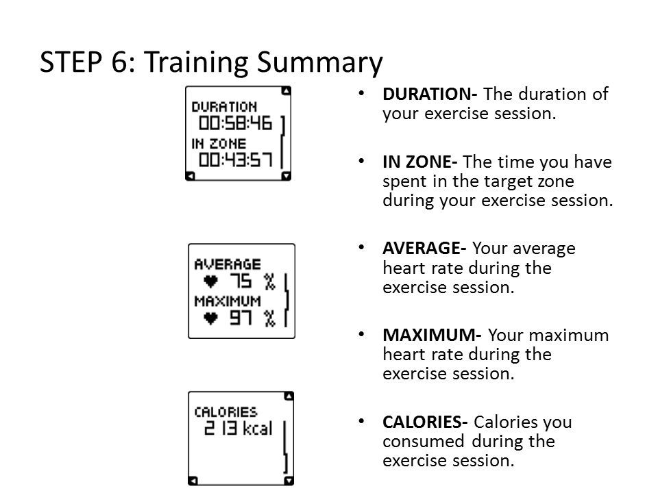 STEP 6: Training Summary DURATION- The duration of your exercise session.