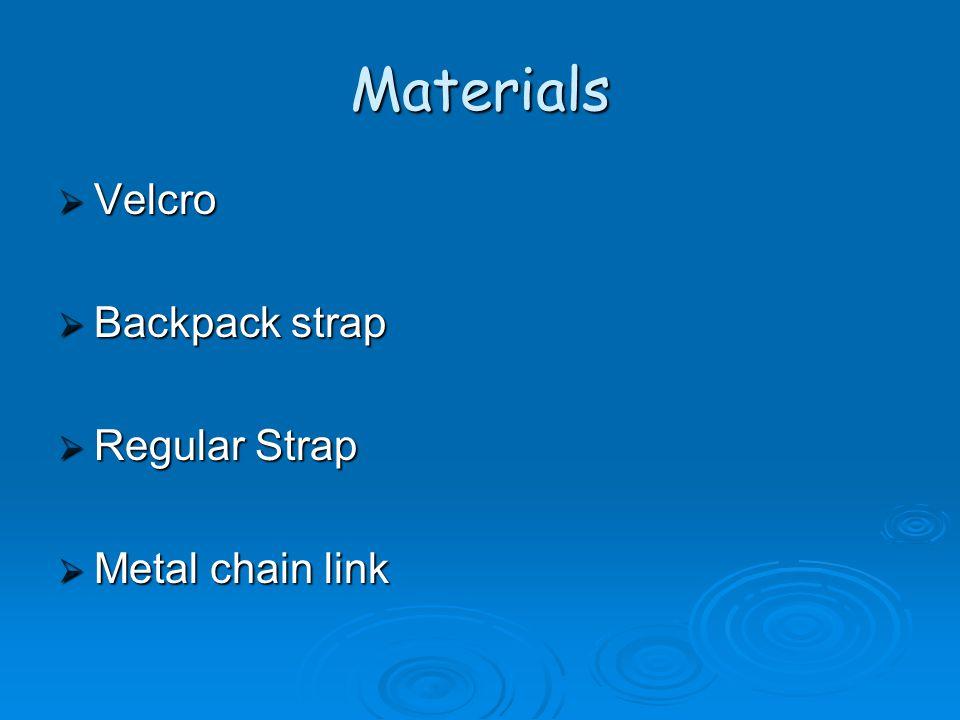 Materials  Velcro  Backpack strap  Regular Strap  Metal chain link