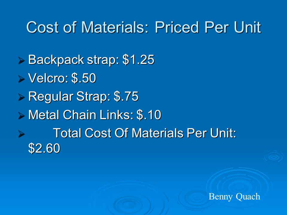 Cost of Materials: Priced Per Unit  Backpack strap: $1.25  Velcro: $.50  Regular Strap: $.75  Metal Chain Links: $.10  Total Cost Of Materials Per Unit: $2.60 Benny Quach