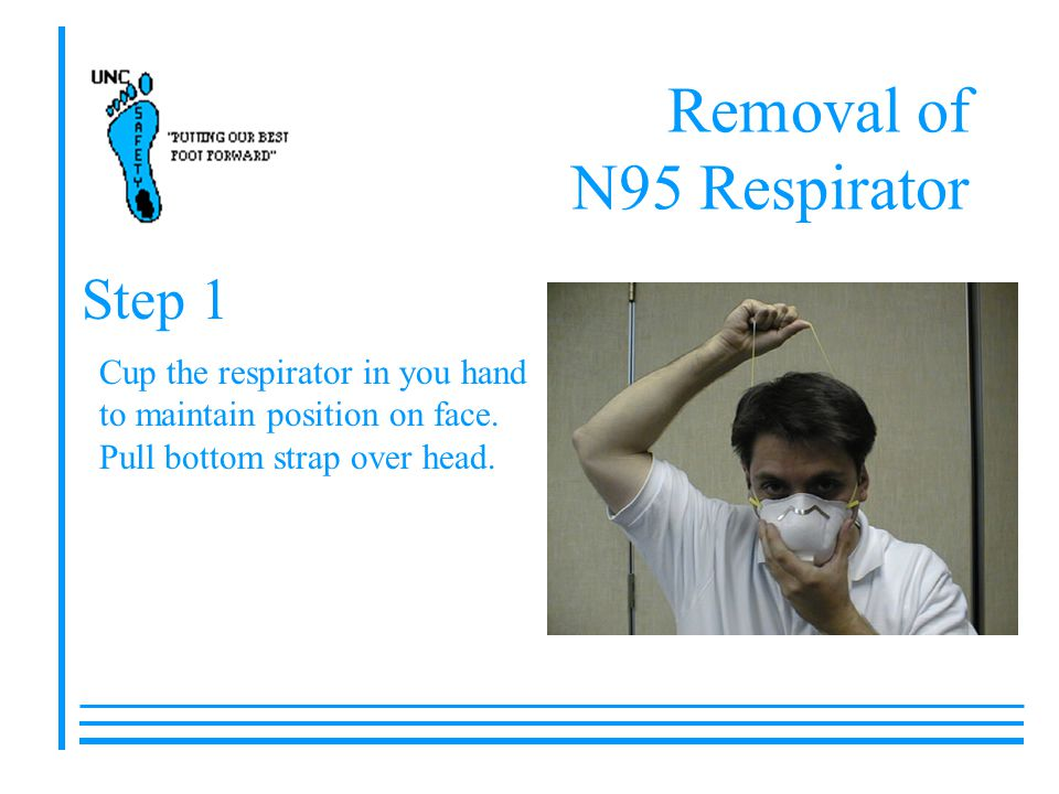 Removal of N95 Respirator Cup the respirator in you hand to maintain position on face. Pull bottom strap over head. Step 1