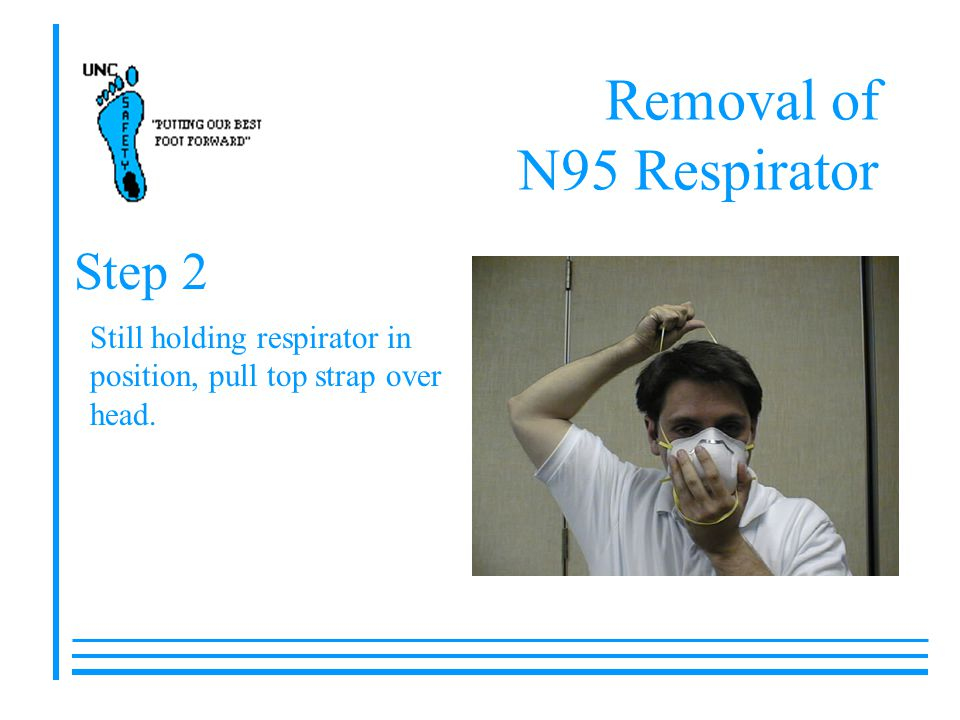 Removal of N95 Respirator Still holding respirator in position, pull top strap over head. Step 2