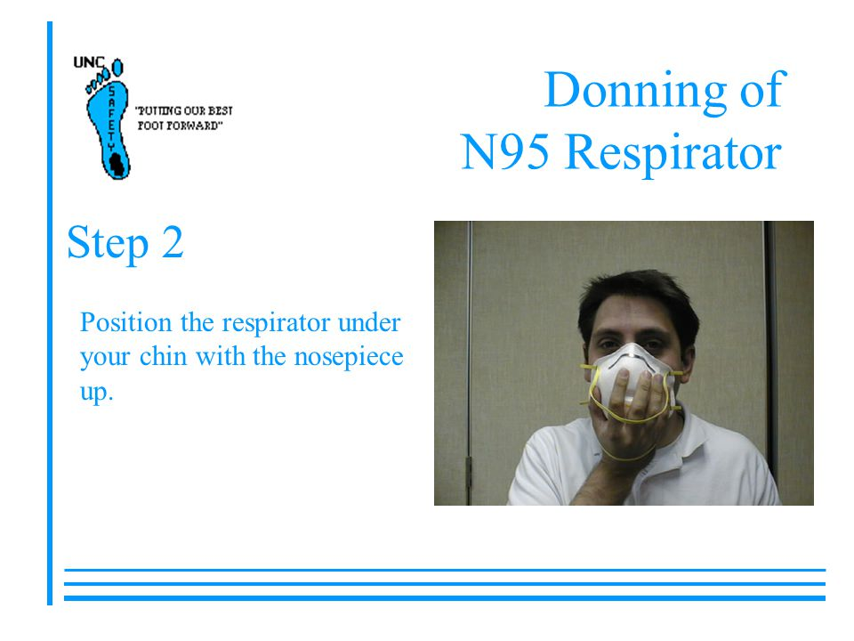 Donning of N95 Respirator Position the respirator under your chin with the nosepiece up. Step 2