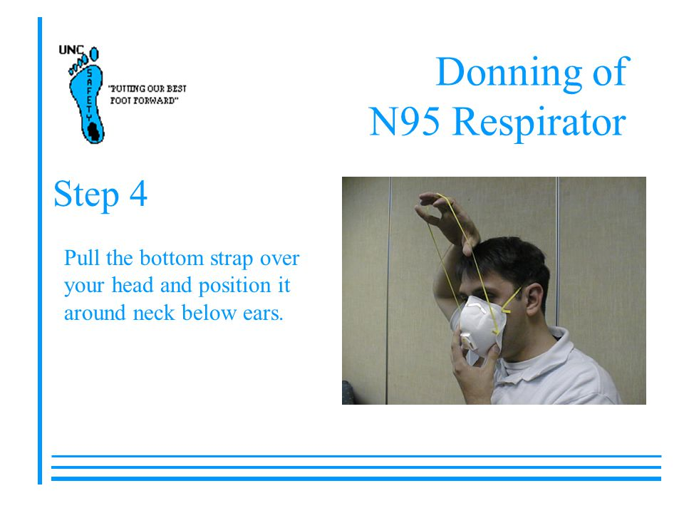 Donning of N95 Respirator Pull the bottom strap over your head and position it around neck below ears.