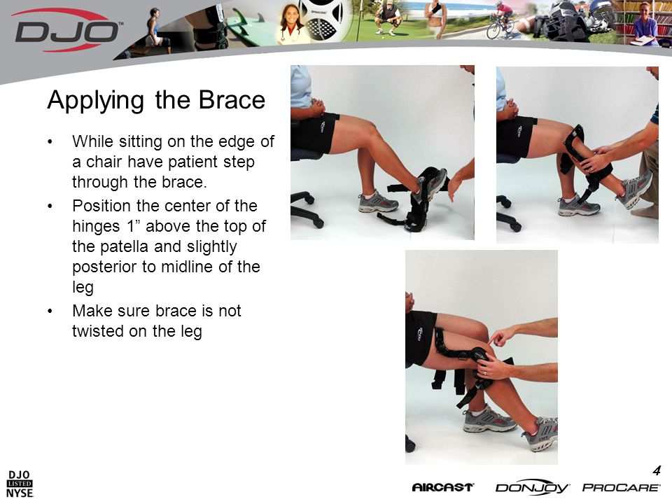 4 Applying the Brace While sitting on the edge of a chair have patient step through the brace.