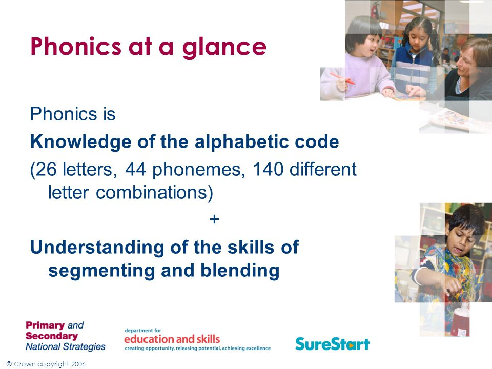 © Crown copyright 2006 Four key Principles of phonics The same spelling may represent more than one phoneme E.g.
