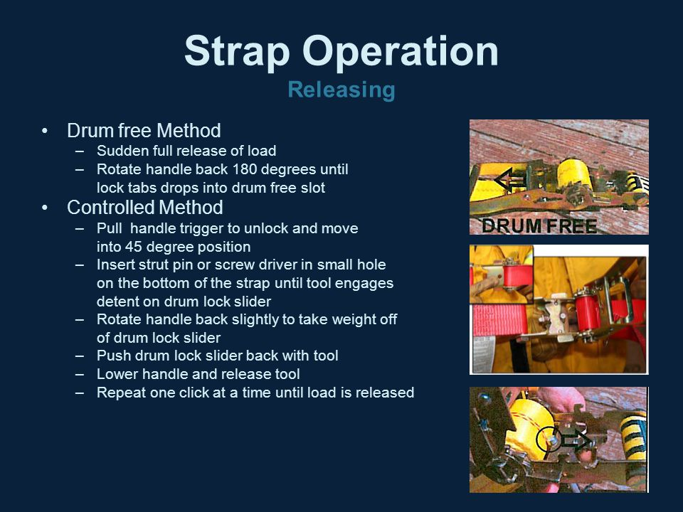 Strap Operation Releasing Drum free Method –Sudden full release of load –Rotate handle back 180 degrees until lock tabs drops into drum free slot Cont