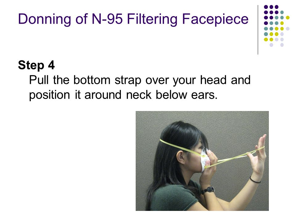 Donning of N-95 Filtering Facepiece Step 4 Pull the bottom strap over your head and position it around neck below ears.