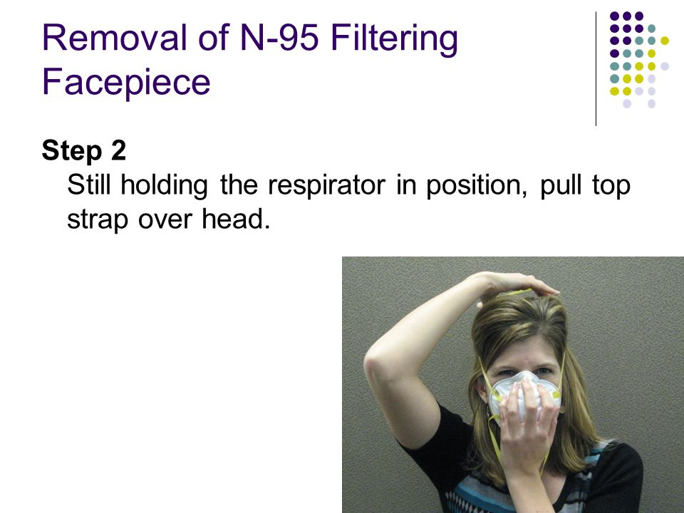 Removal of N-95 Filtering Facepiece Step 2 Still holding the respirator in position, pull top strap over head.