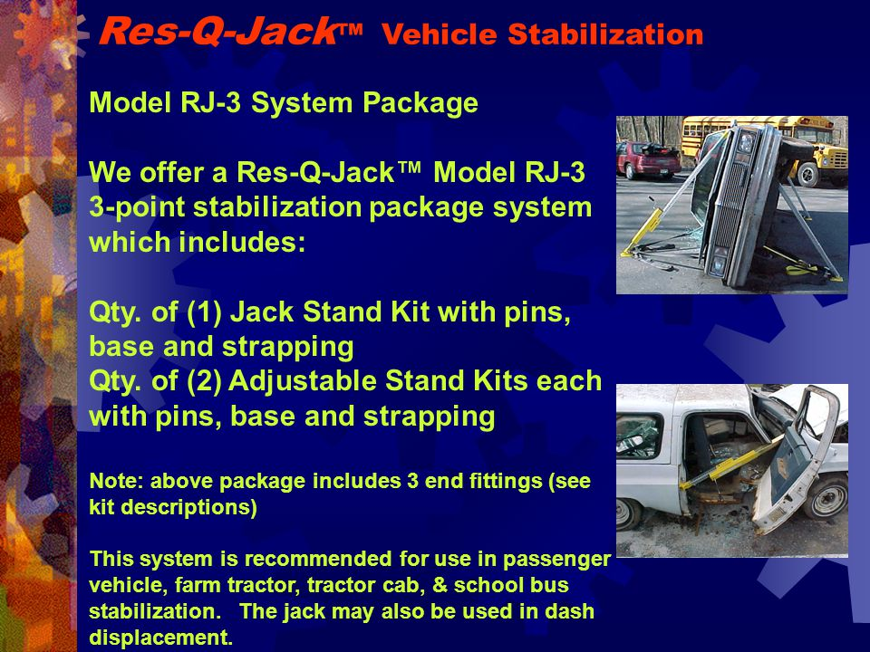 Model RJ-3 System Package We offer a Res-Q-Jack™ Model RJ-3 3-point stabilization package system which includes: Qty.