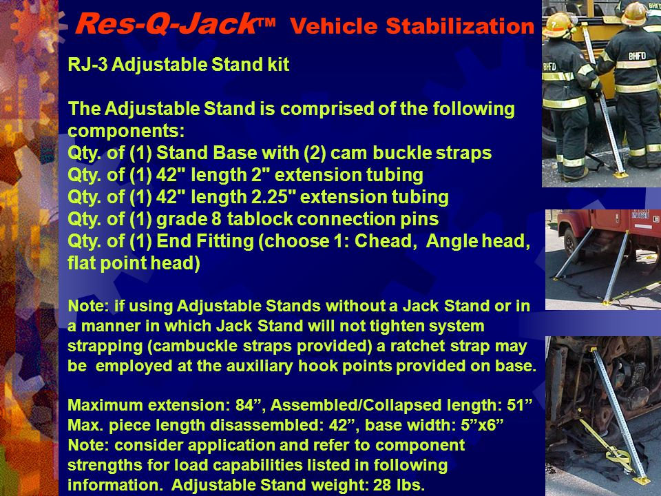 RJ-3 Adjustable Stand kit The Adjustable Stand is comprised of the following components: Qty.