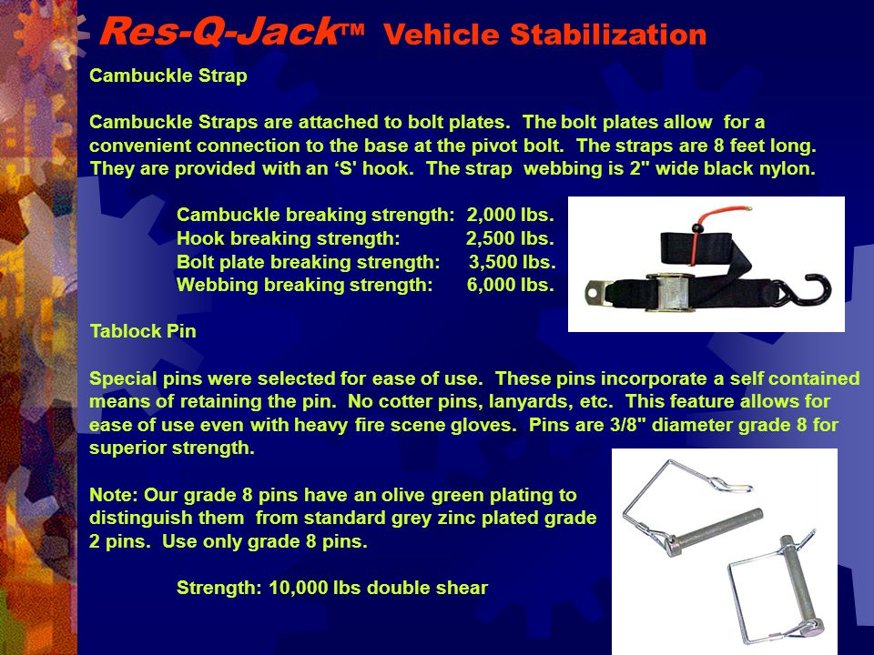 Cambuckle Strap Cambuckle Straps are attached to bolt plates.