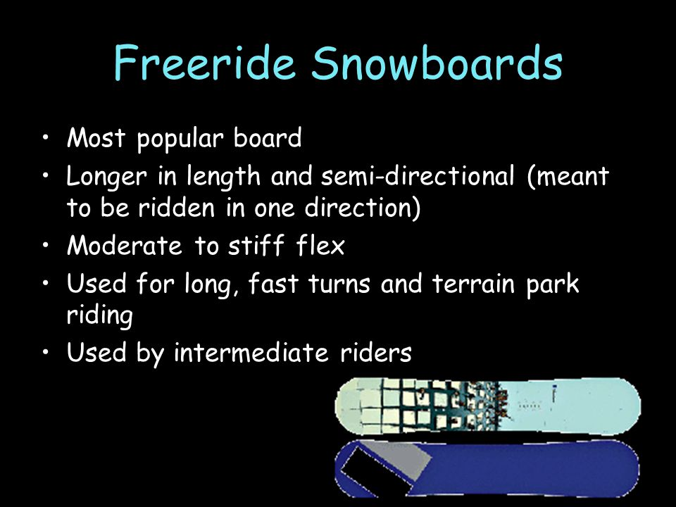 Freeride Snowboards Most popular board Longer in length and semi-directional (meant to be ridden in one direction) Moderate to stiff flex Used for long, fast turns and terrain park riding Used by intermediate riders