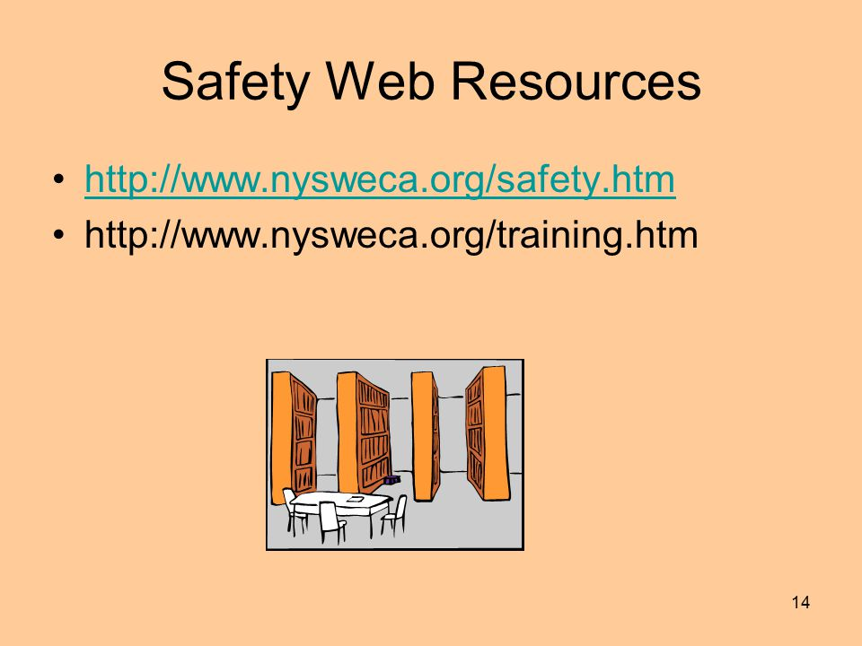 14 Safety Web Resources http://www.nysweca.org/safety.htm http://www.nysweca.org/training.htm