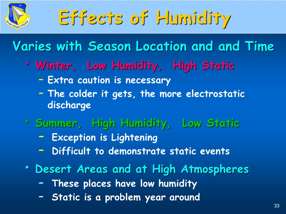 33 Effects of Humidity Winter, Low Humidity, High Static Winter, Low Humidity, High Static – Extra caution is necessary – The colder it gets, the more