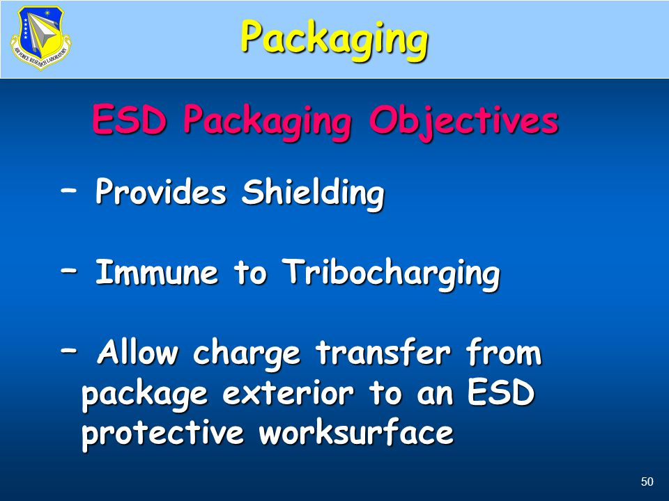 50 ESD Packaging Objectives ESD Packaging Objectives Provides Shielding – Provides Shielding – Immune to Tribocharging – Allow charge transfer from pa