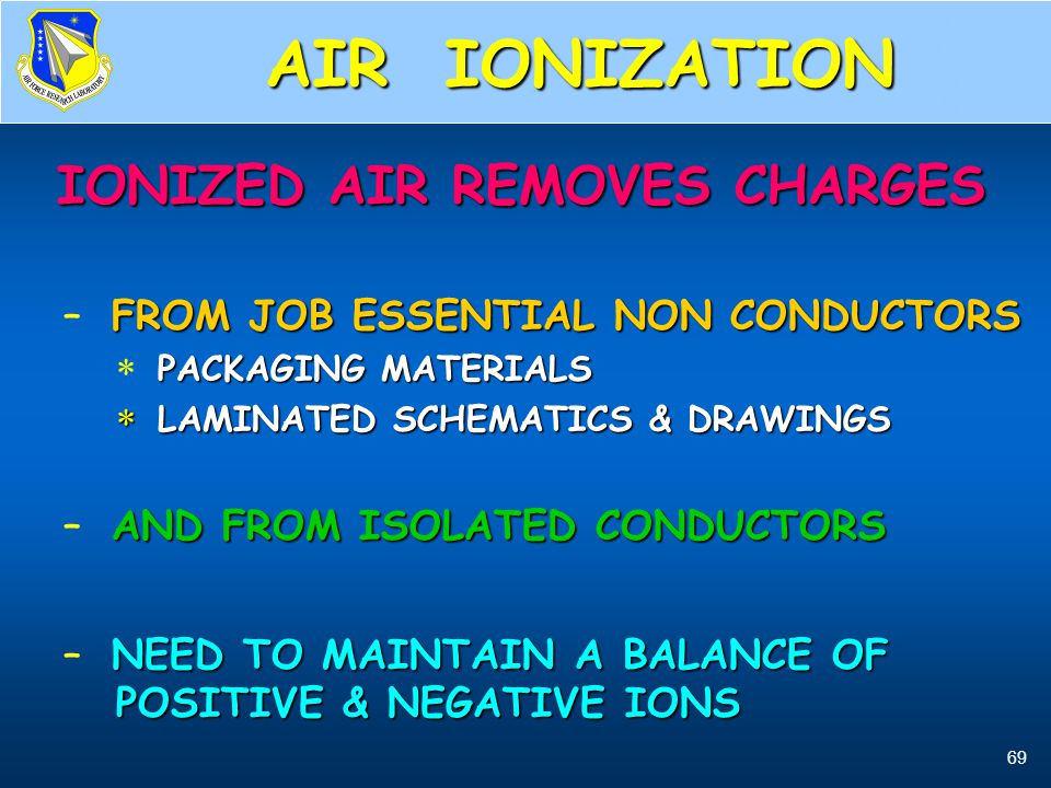 69 Air Ionizers, what they do IONIZED AIR REMOVES CHARGES IONIZED AIR REMOVES CHARGES FROM JOB ESSENTIAL NON CONDUCTORS – FROM JOB ESSENTIAL NON CONDU