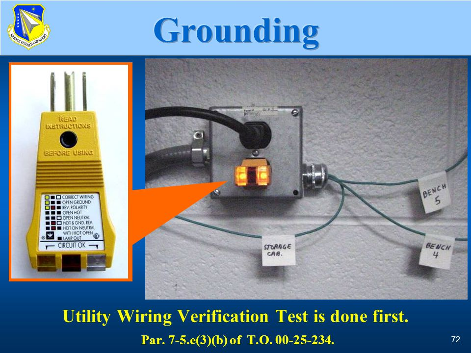 72 Wiring Verification Test Utility Wiring Verification Test is done first. Par. 7-5.e(3)(b) of T.O. 00-25-234. photo