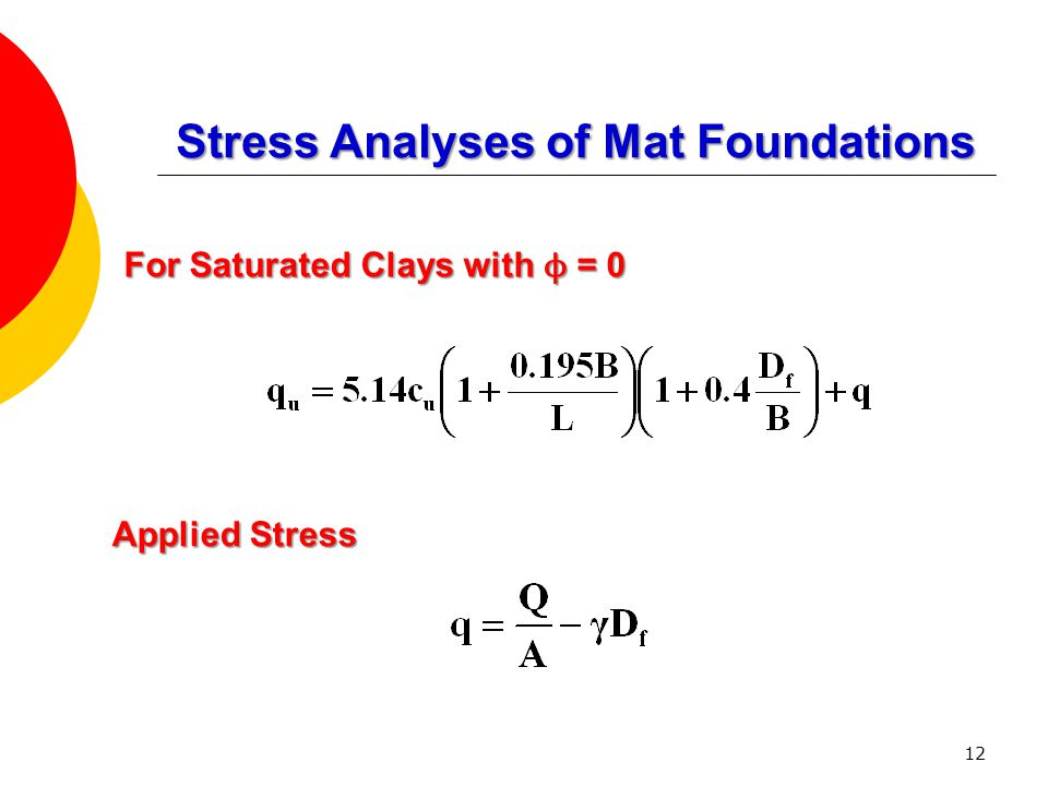 For Saturated Clays with ϕ = 0 Applied Stress 12 Stress Analyses of Mat Foundations