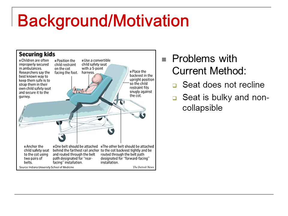 Background/Motivation Problems with Current Method:  Seat does not recline  Seat is bulky and non- collapsible