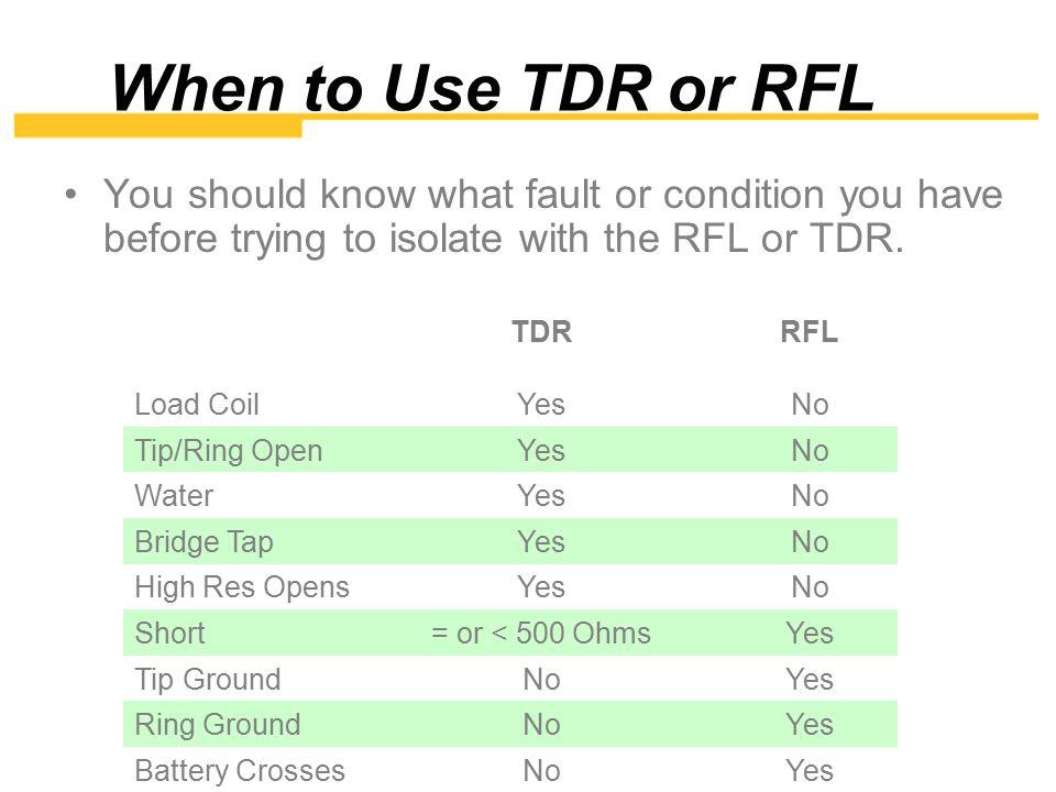TDR Press the TDR key Choose Setup to enter cable information.