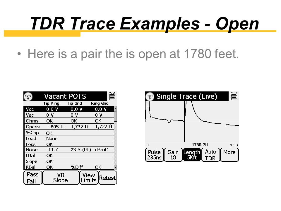 TDR Tip Open Here is a pair the has an open tip open at 780 feet.